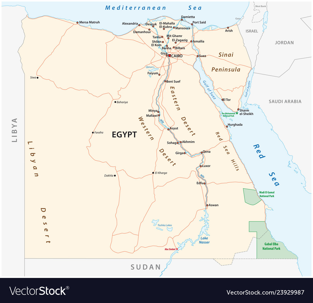 Roads map of the arab republic of egypt vector image