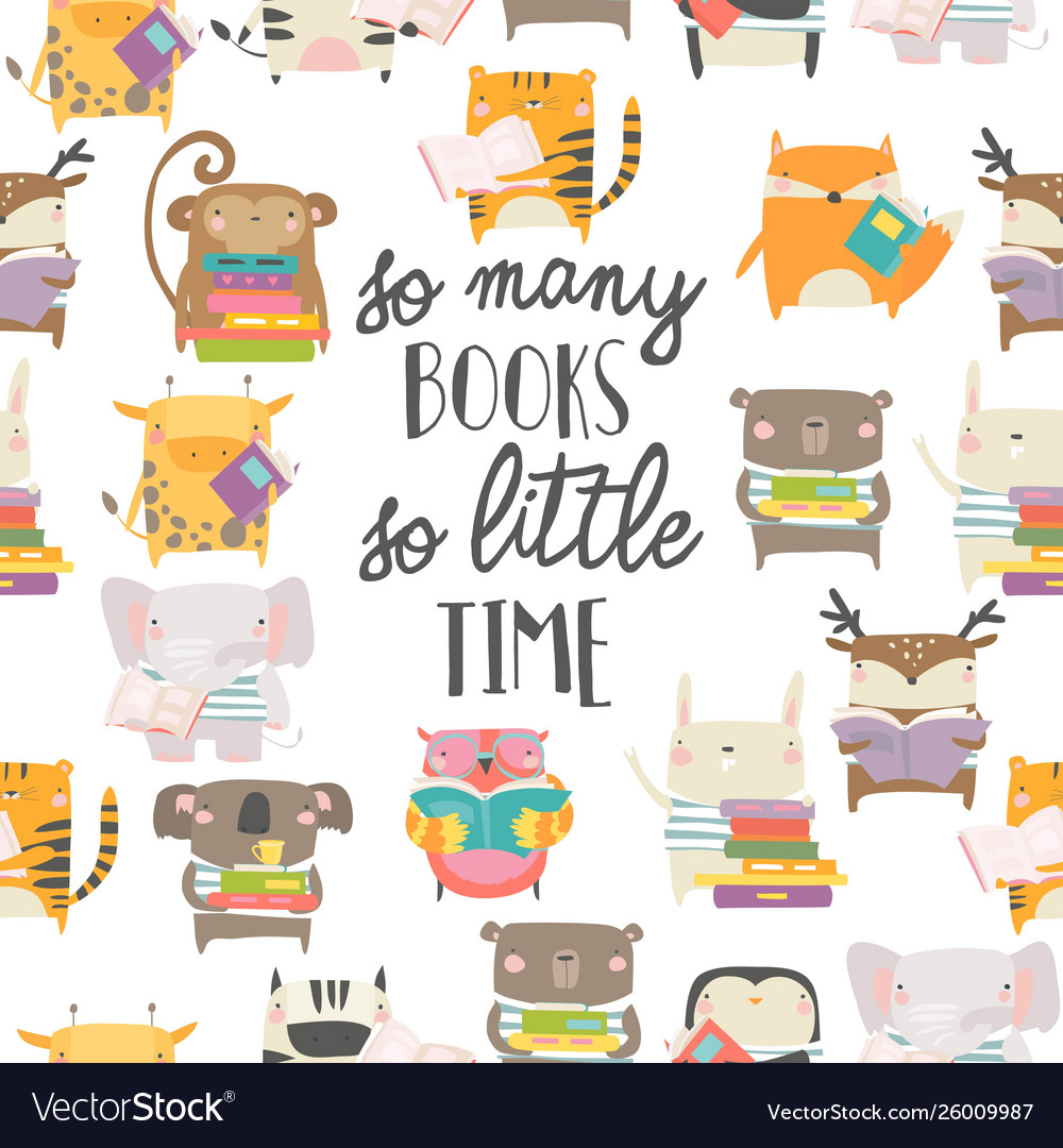 Seamless pattern with cute animals reading books