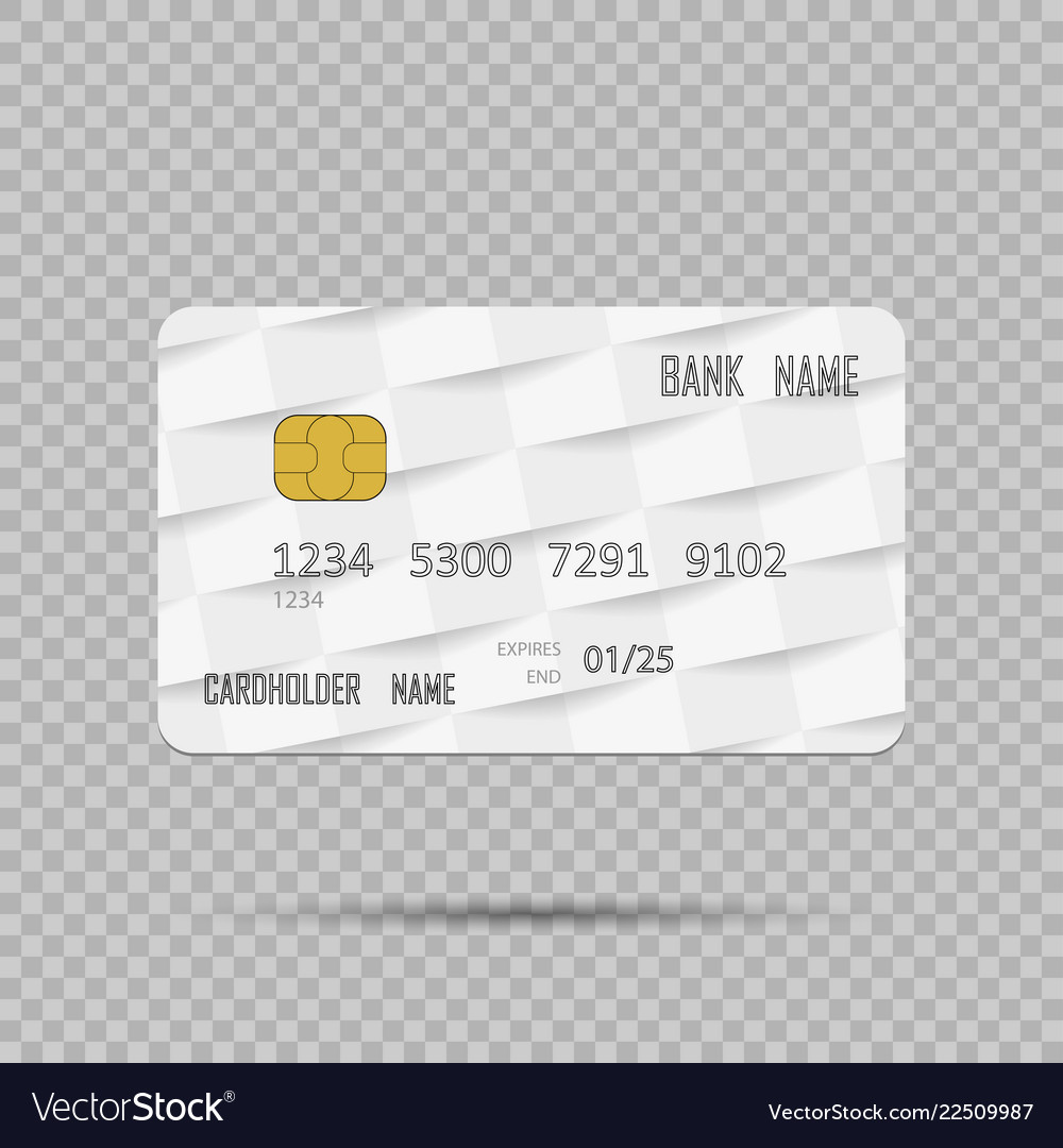 Template realistic credit card on transpatent