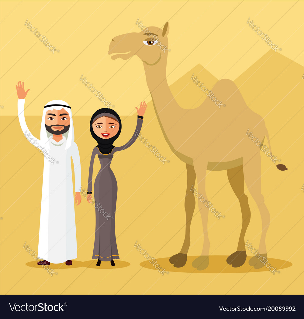Arab couple family muslim people and camel