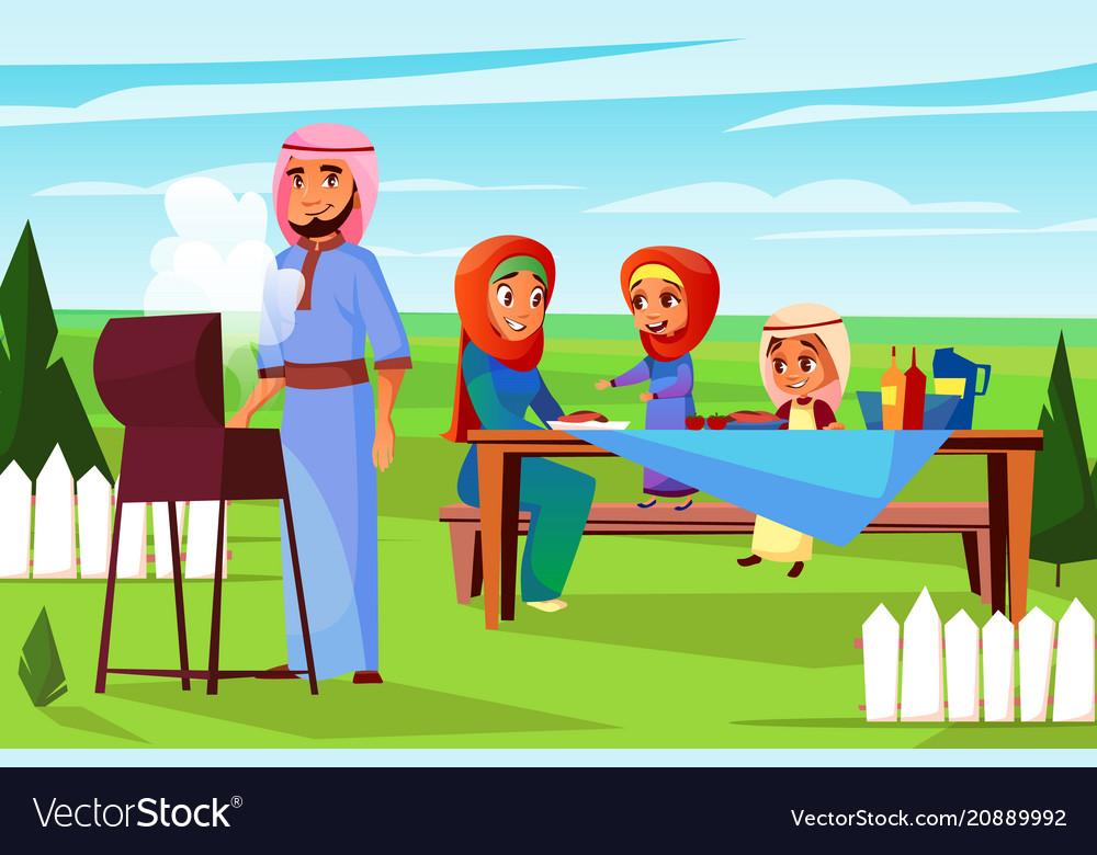Arabian family barbecue picnic