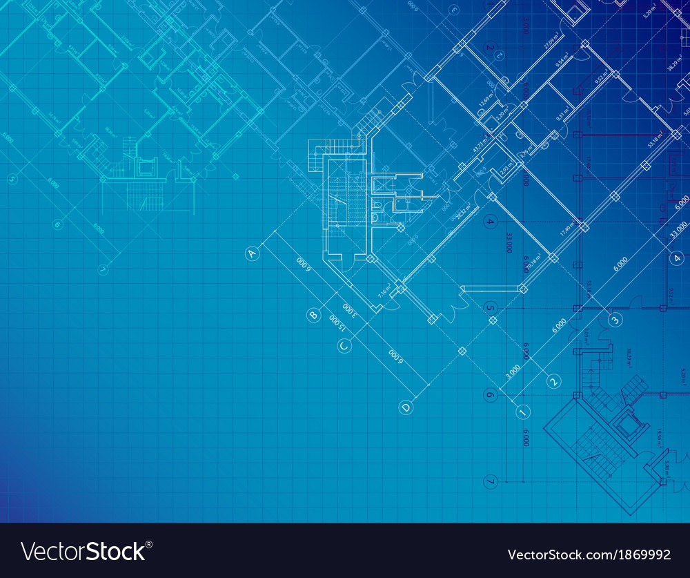 Blue Architectural Background With Plans Vector Image
