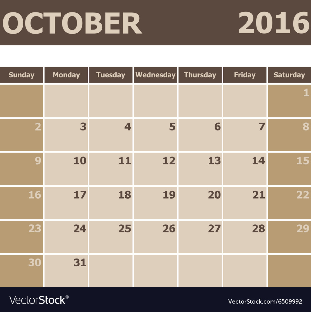 Calendar October 2016 week starts from Sunday