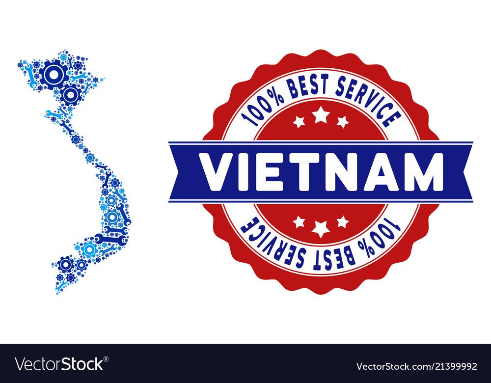 Collage Vietnam Map Of Repair Tools Royalty Free Vector