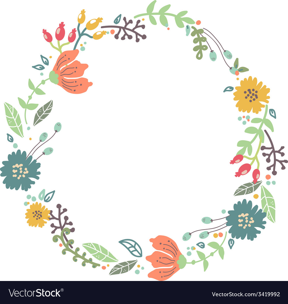 Color floral frame for wedding invitation design vector image stopboris Gallery