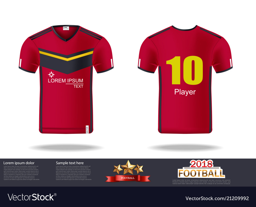 2f301400436 Football t-shirts design template for Royalty Free Vector