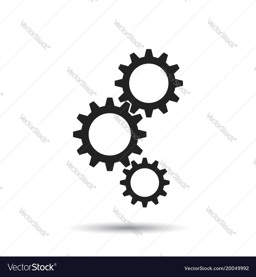 Gear icon flat business sign symbol with shadow