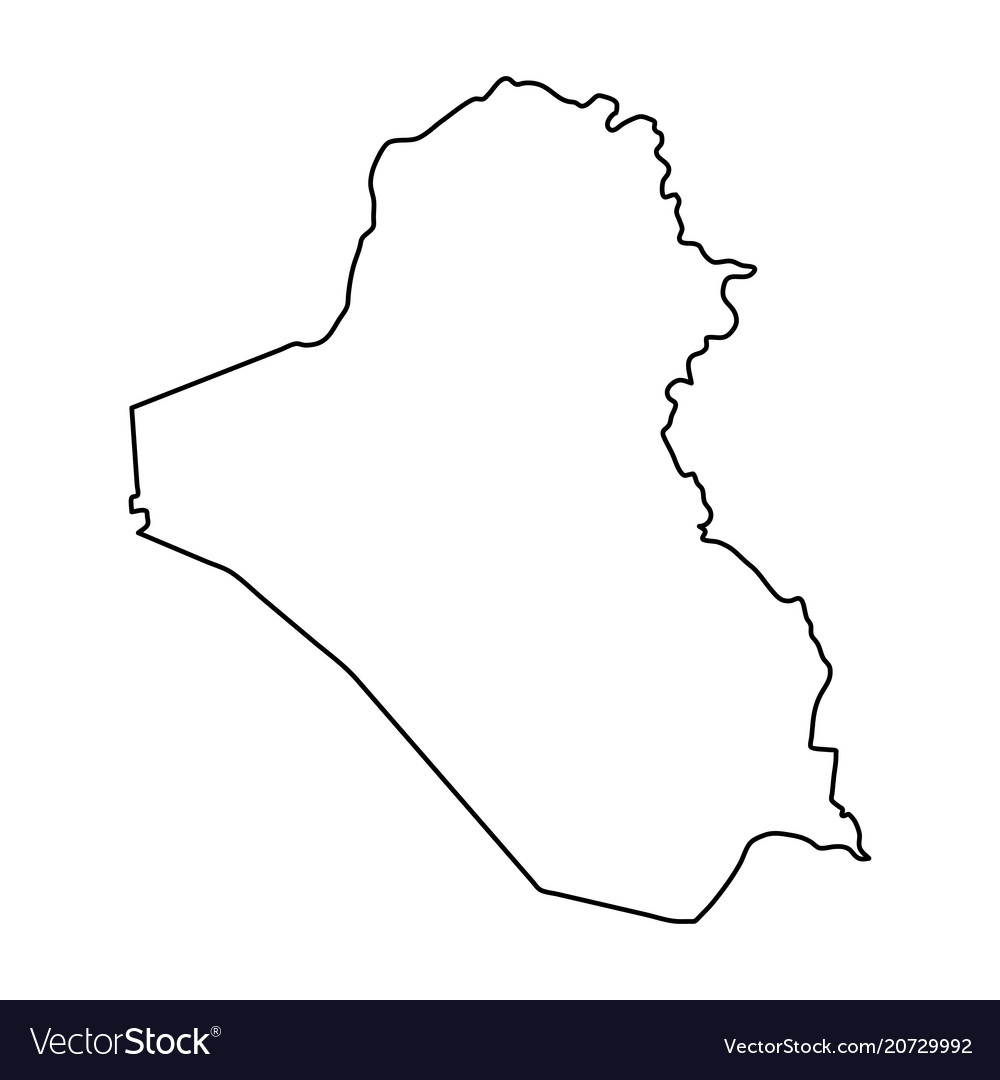 Iraq map of black contour curves on white