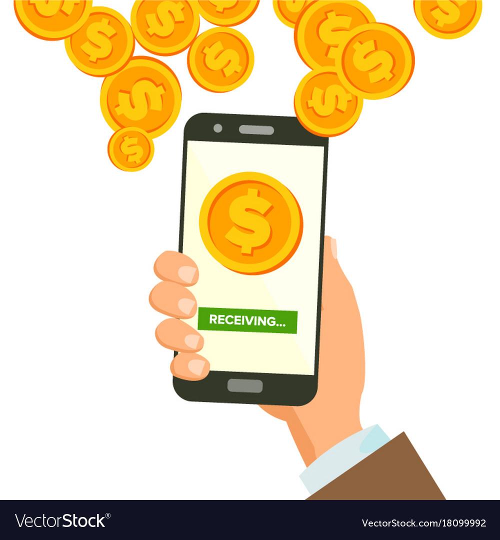 Mobile dollar receiving concept human hand