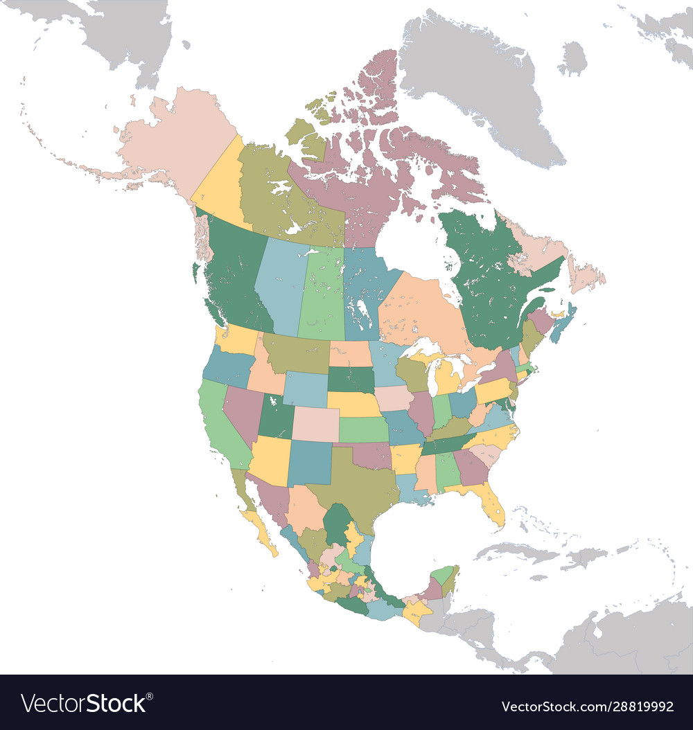 Map Of Usa Canada Mexico North america map with usa canada and mexico Vector Image