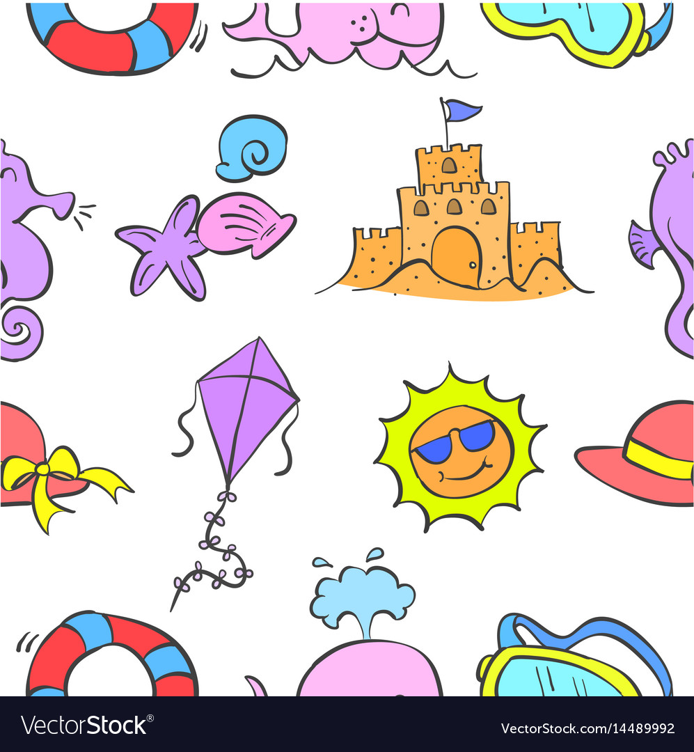 Pattern summer element style collection vector image