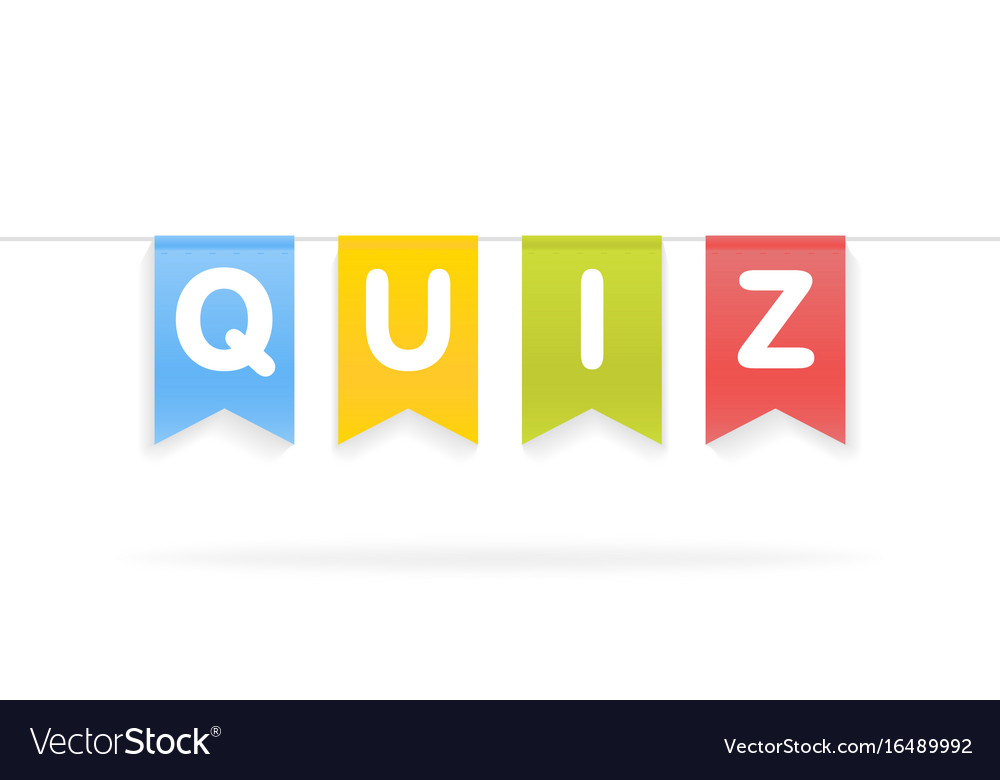 Quiz word on pennants on rope vector image on VectorStock