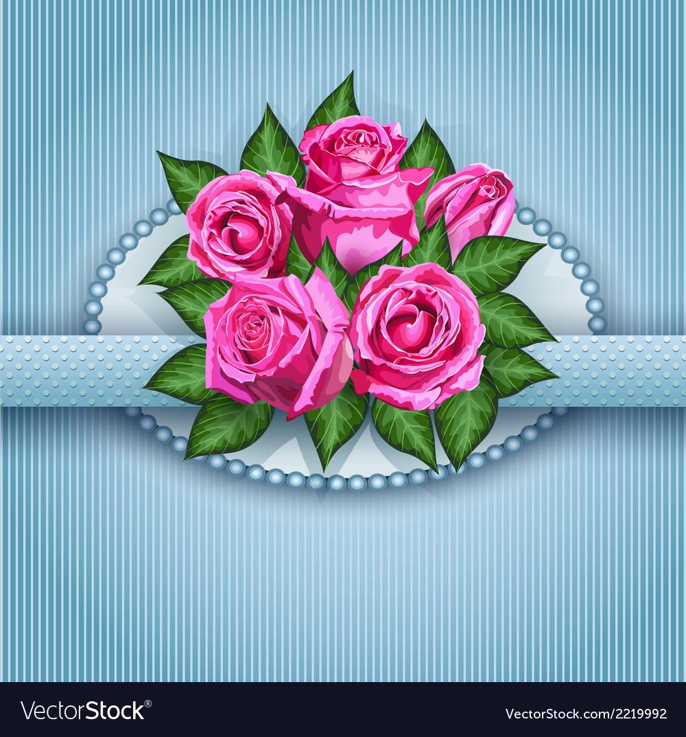 Roses postcard blue