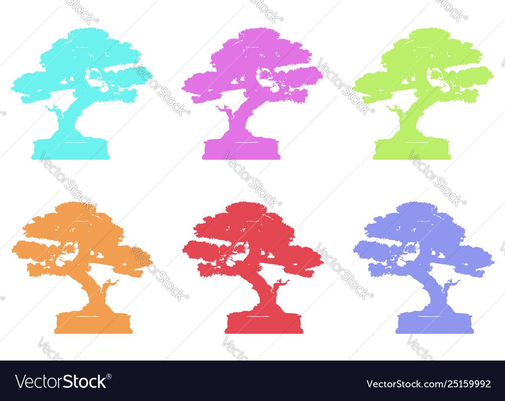 Set japanese bonsai tree logo plant silhouette