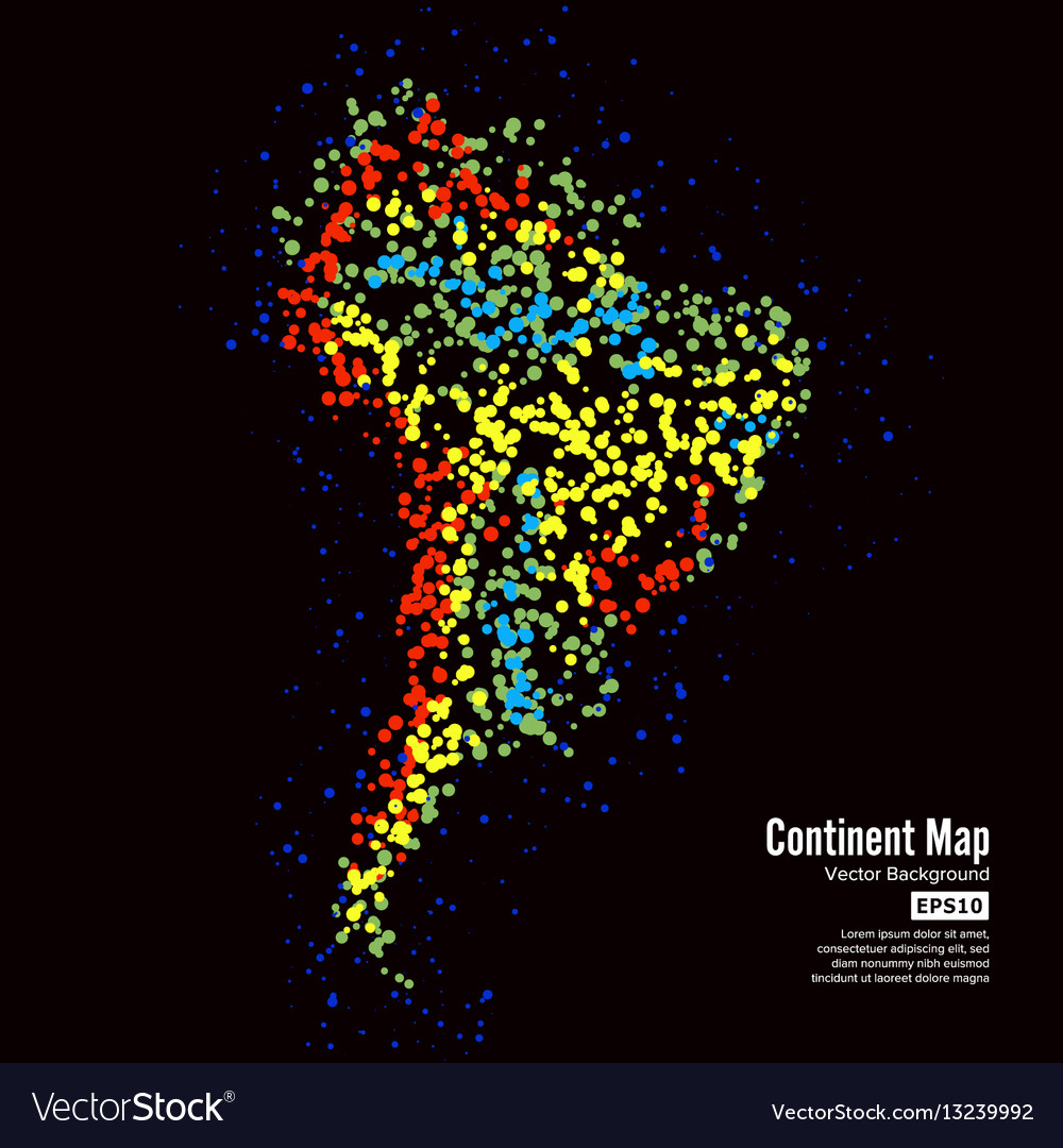 South america continent map abstract background
