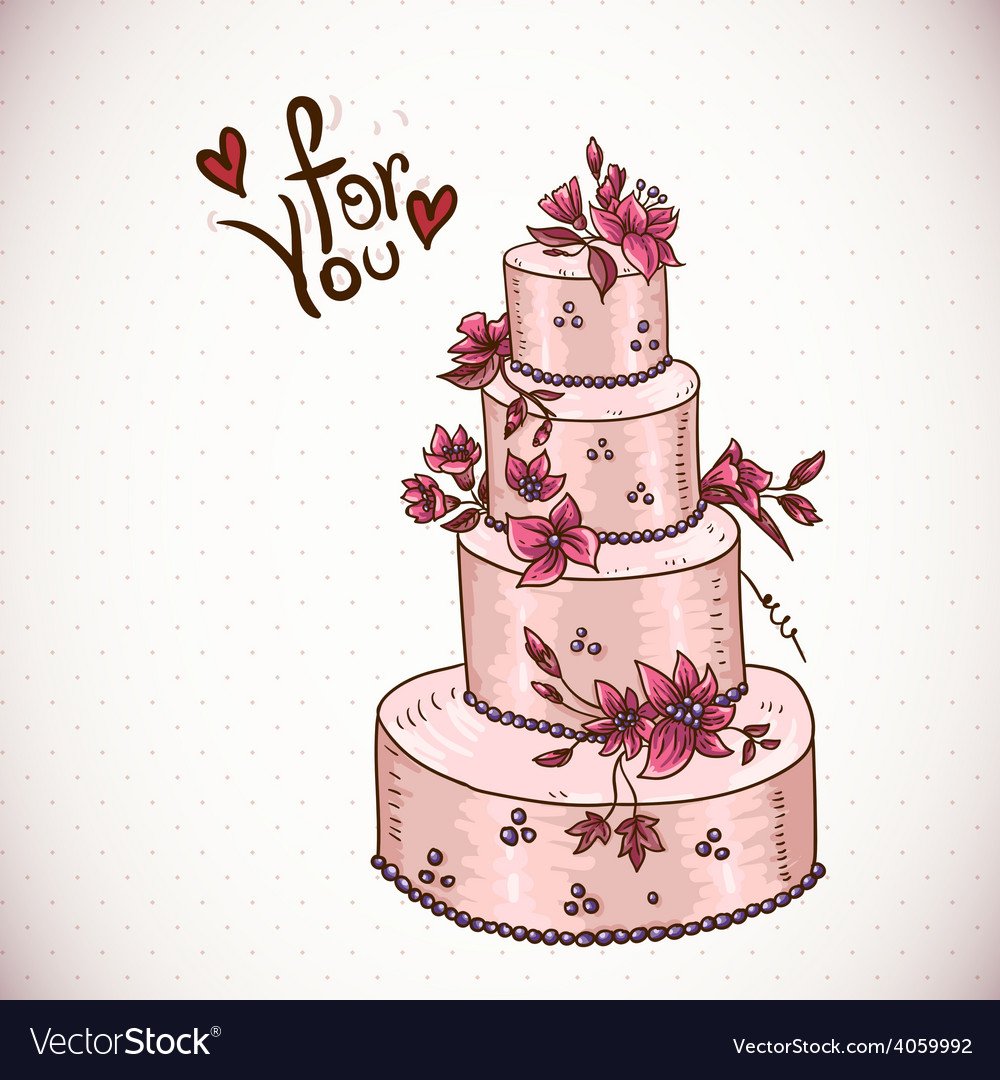 Vintage Floral Card With Wedding Cake Royalty Free Vector