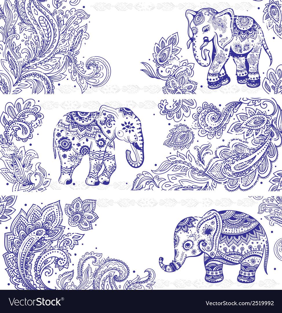 Vintage set banners with ethnic elephants