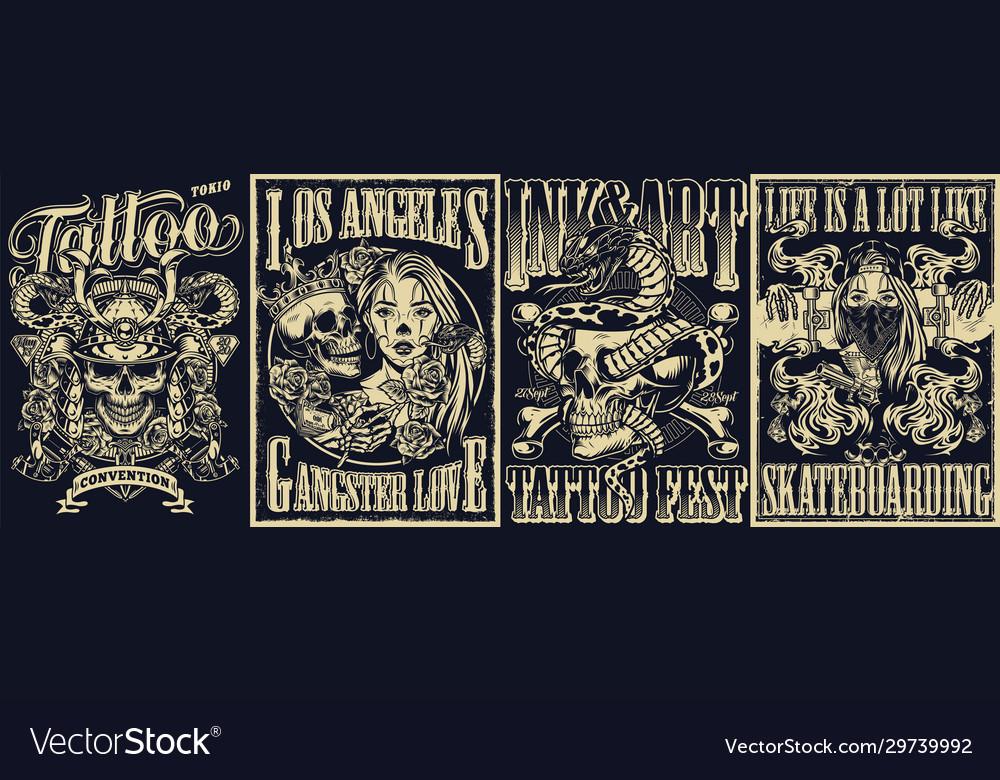 Vintage tattoo monochrome posters set