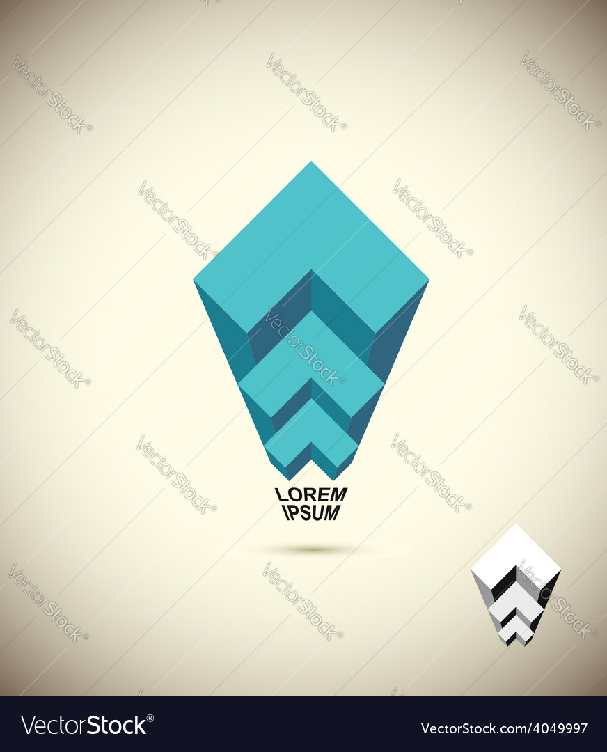Abstract logo Vista 3D business icon The concept vector image