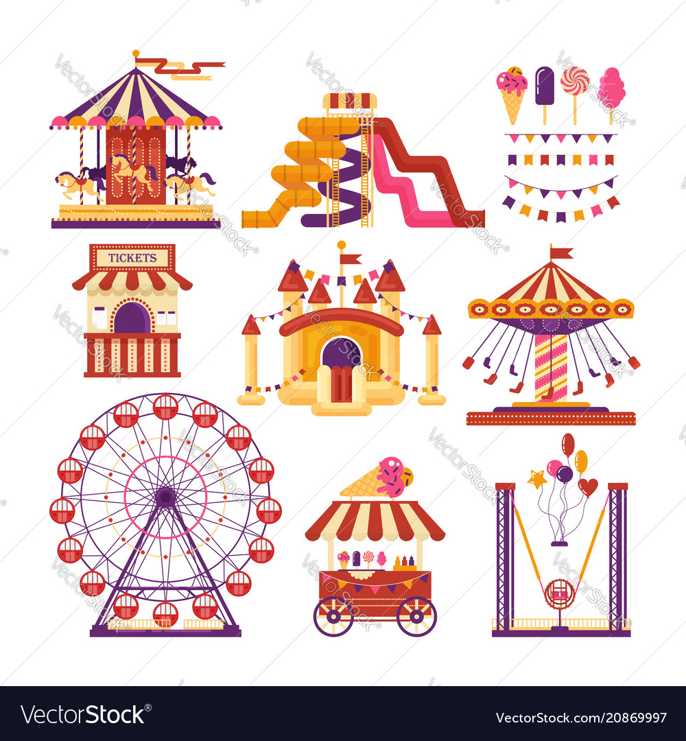 Amusement park flat elements with carousels