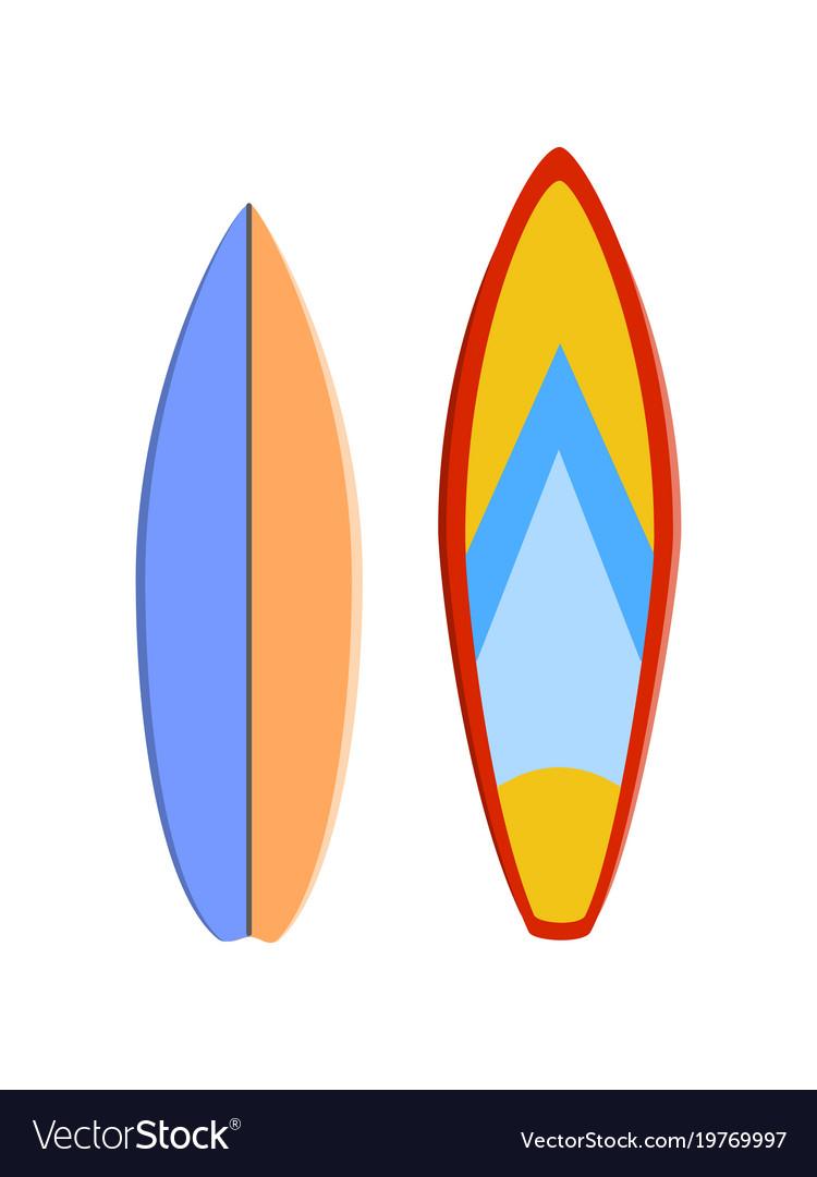 Color surfboard set sea extreme sport pattern