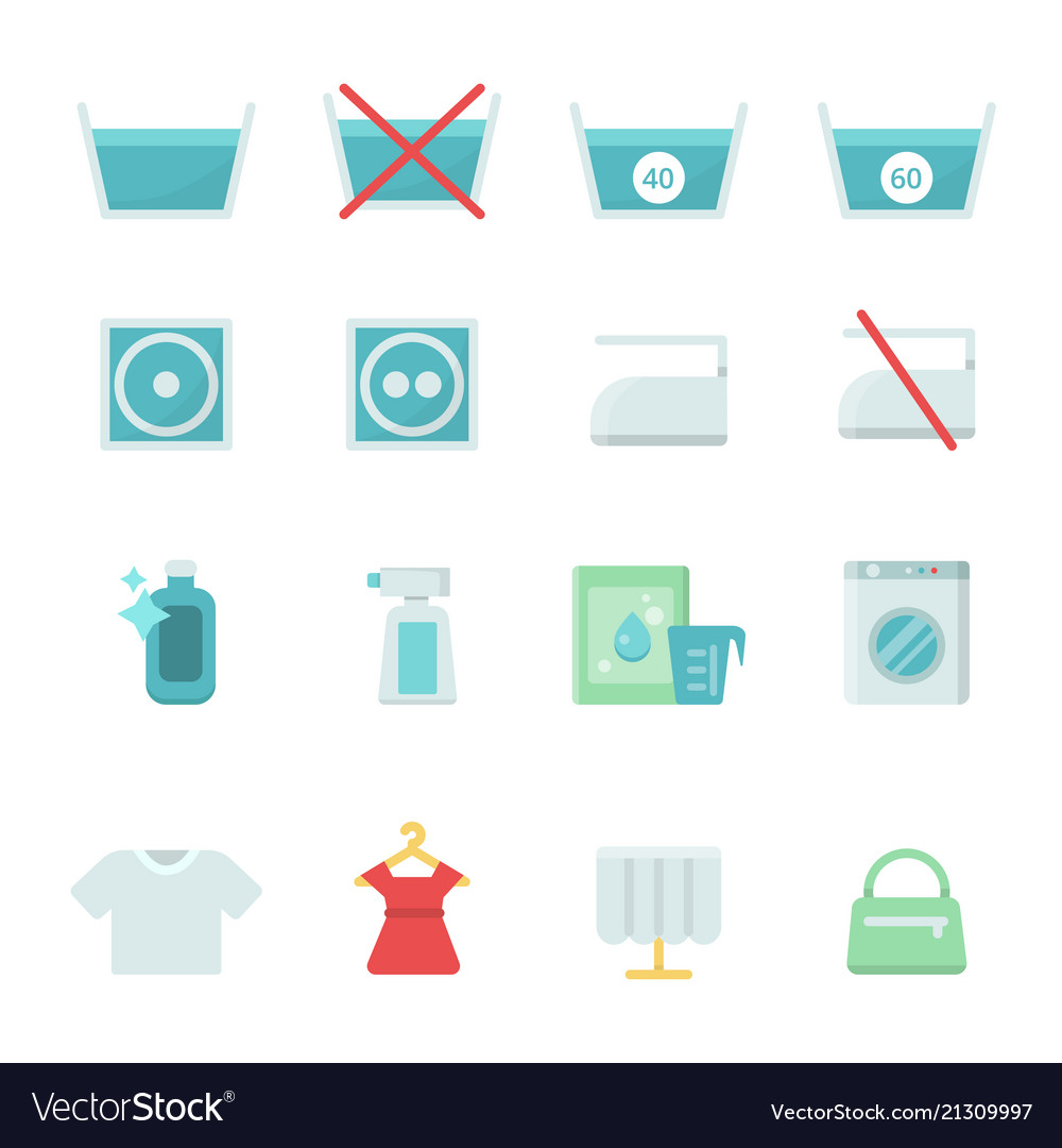 Dry Cleaning Symbols Various Washing Icon Vector Image