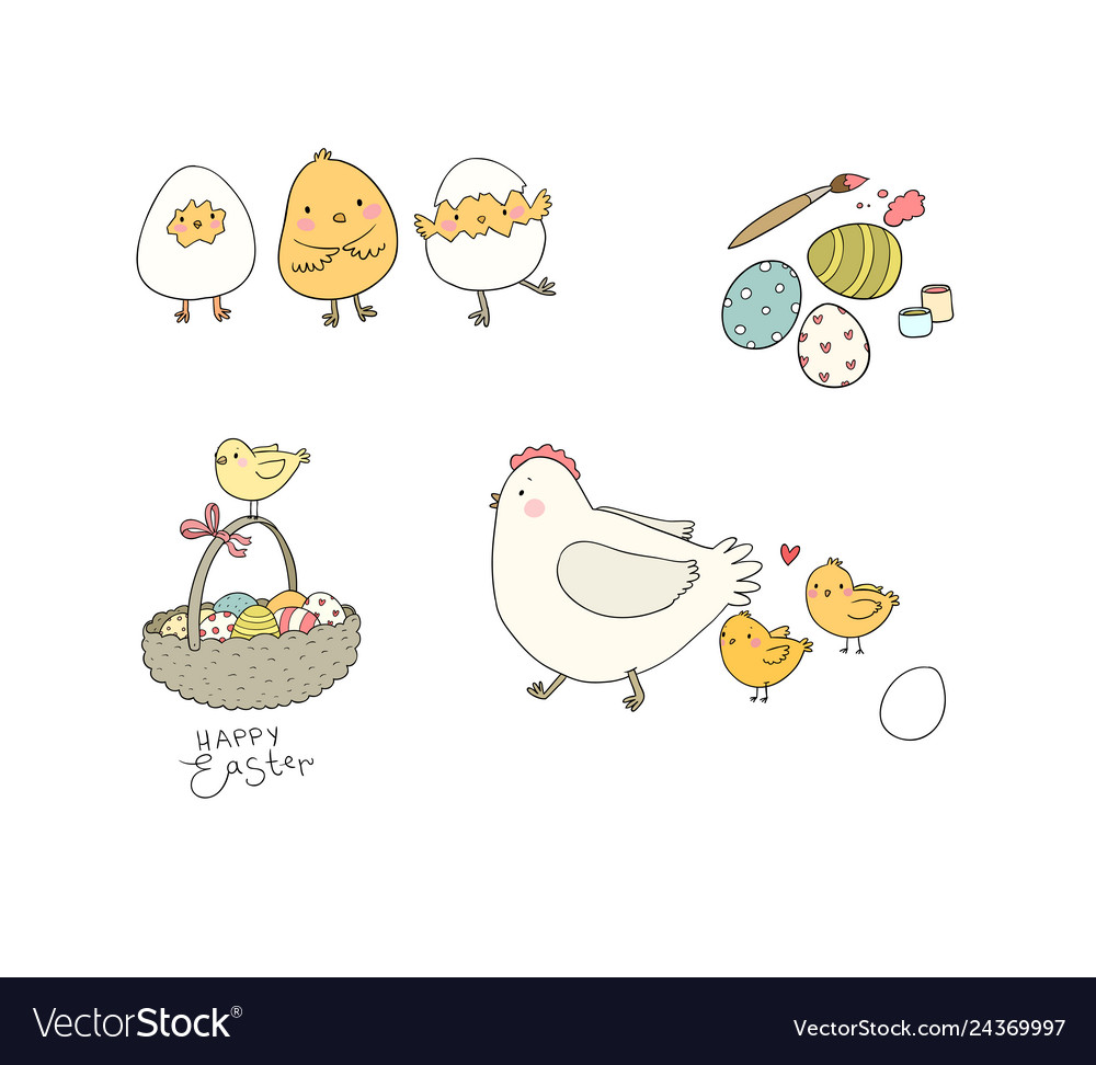 Easter chickens eggs and paint cute cartoon