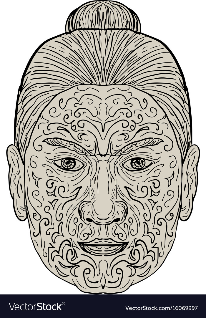 ea5655c2d Maori face with moko facial tattoo Royalty Free Vector Image