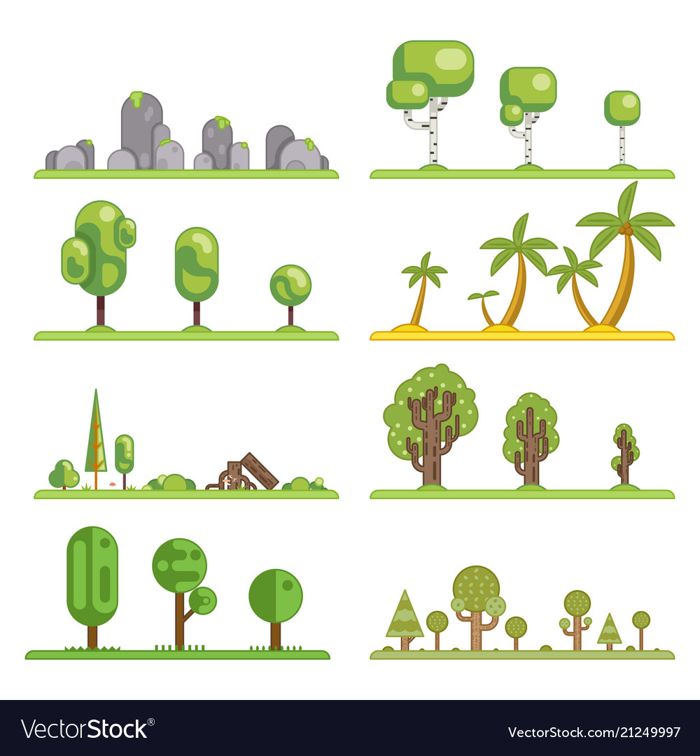 Mobile game tree icons set forest nature landscape