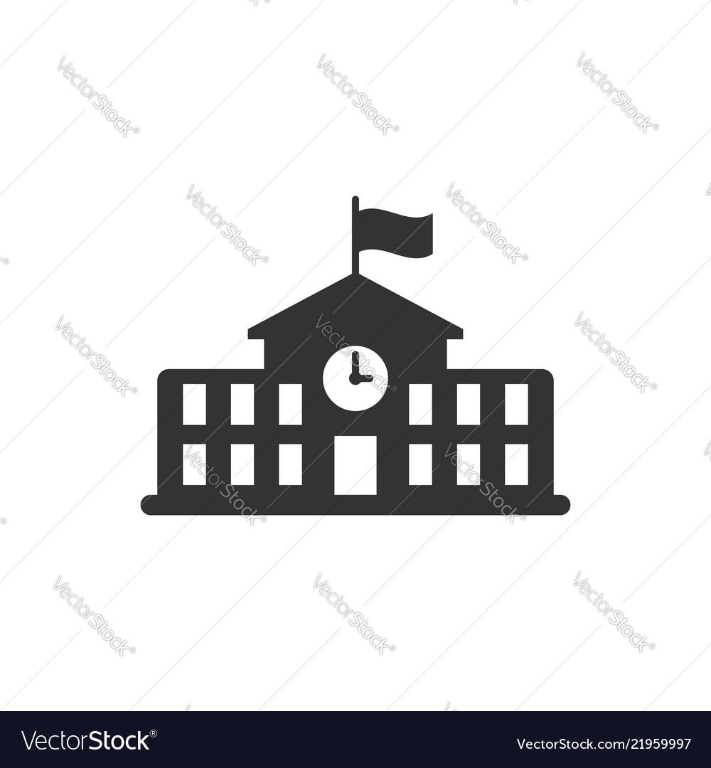 School building icon in flat style college