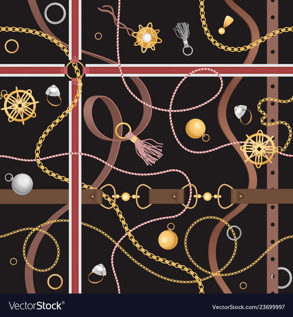 Seamless pattern with luxury fashion belts chain
