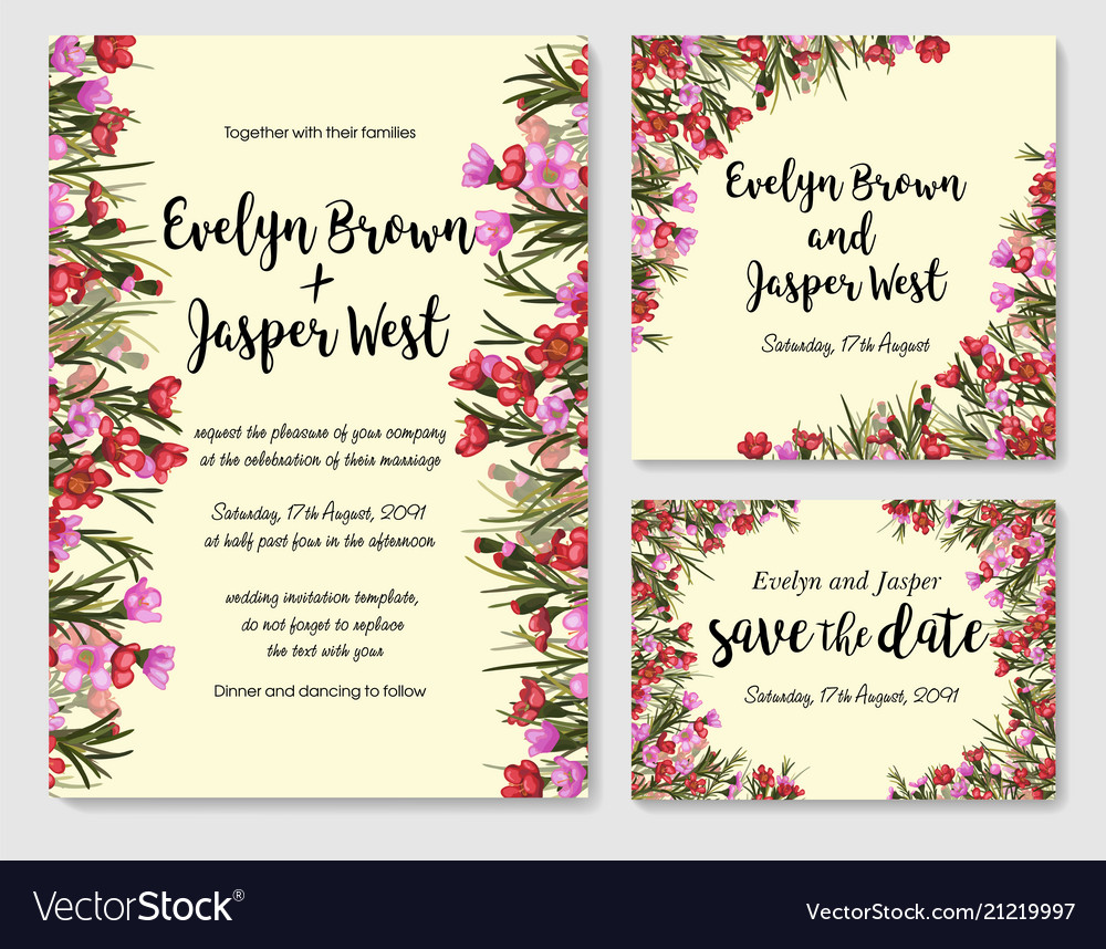 Set of card withred and pink waxflower leaves