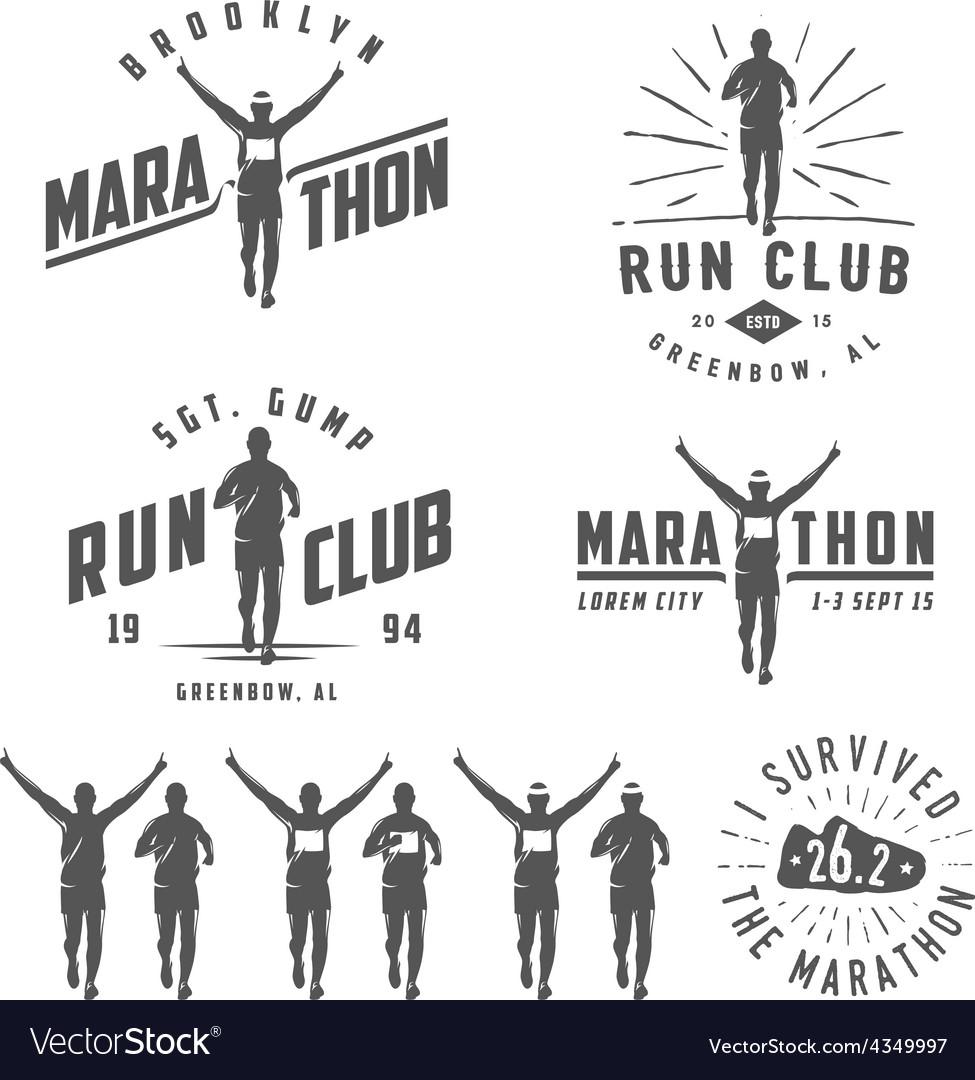 Set of run club labels emblems and design element