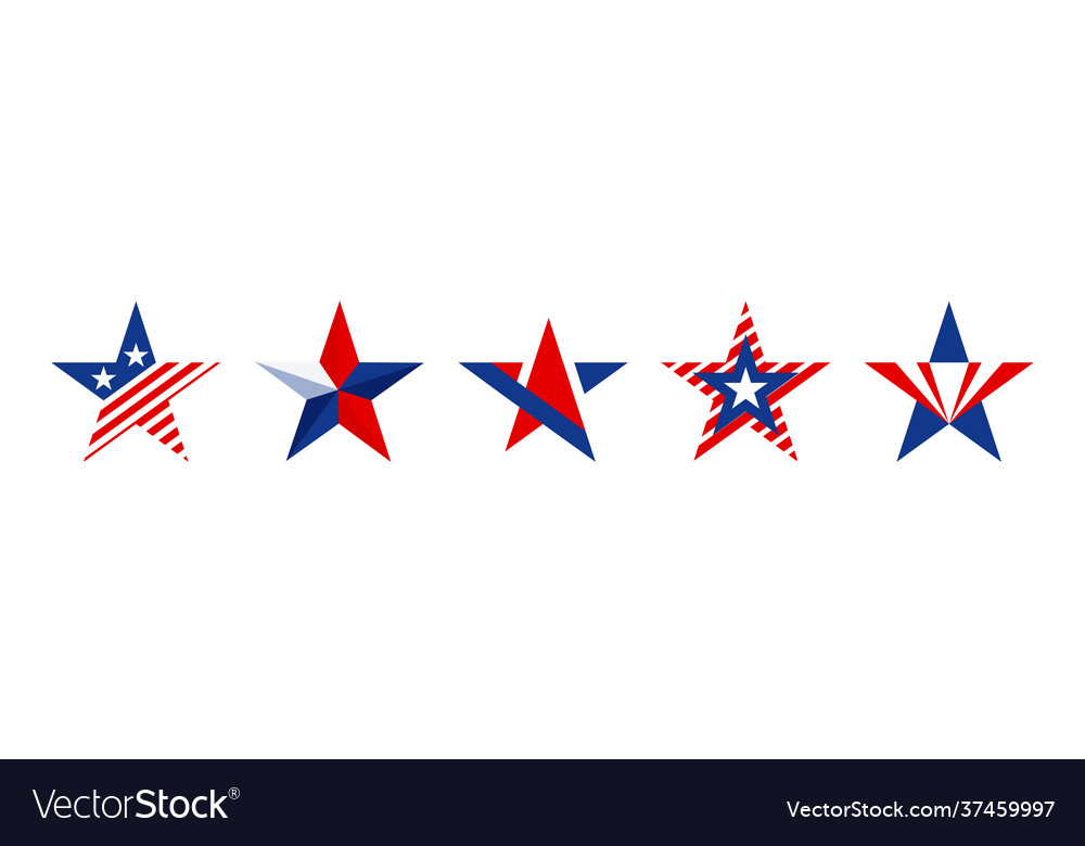 Star shapes set in red blue and white color for