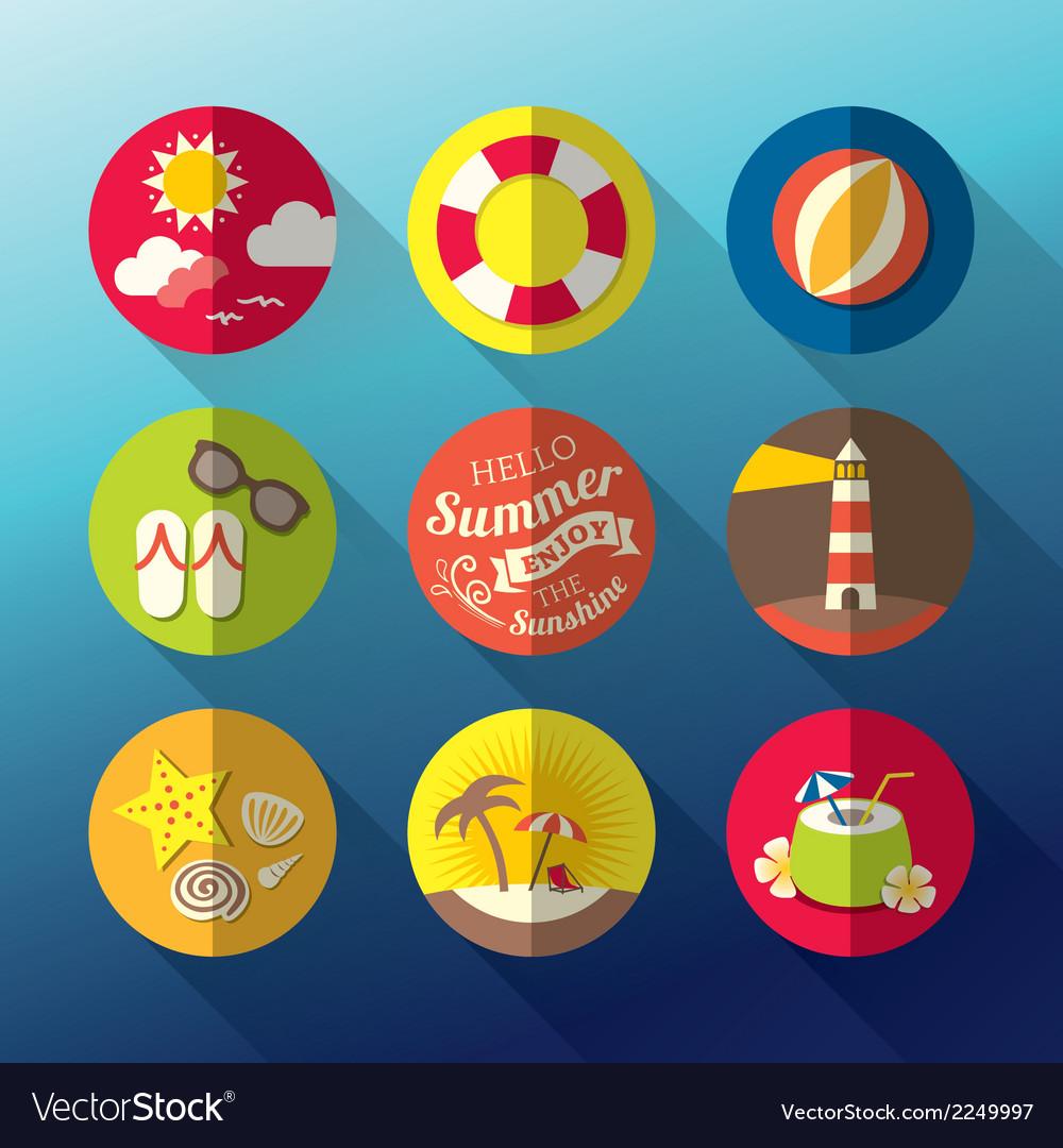 Summer flat icon set