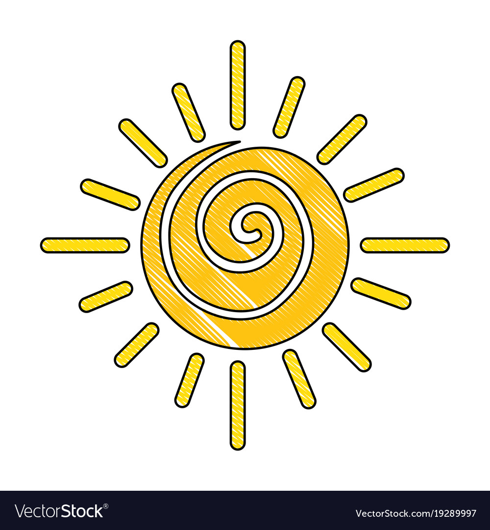 Summer sun drawing icon Royalty Free Vector Image