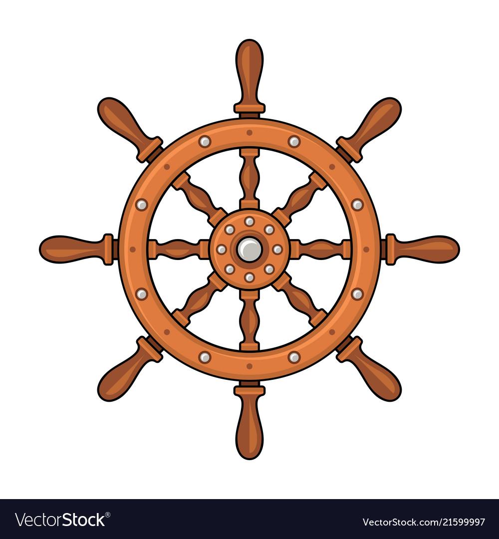 Wooden ship wheel on white background