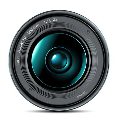 Atlanta Skyline Vector. Camera Lens Vector.