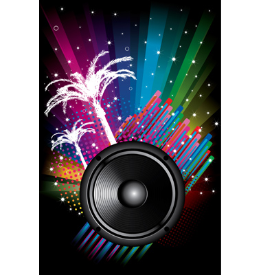 Background For Disco Flyers With Black Speaker Vector
