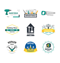 cartoon hand tools badges or labels set vector image vector image