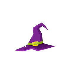 cartoon purple witch wizrd pointed hat halloween vector image