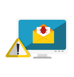 computer with computing alert vector image