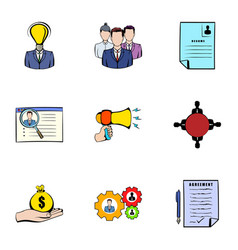 interview icons set cartoon style vector image