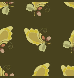 seamless autumn print with oak leaves and acorns vector image vector image