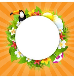 Summer Poster With Sun And Cloud vector image vector image