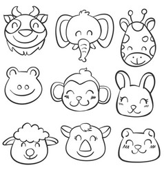 art animal hand draw doodles vector image vector image