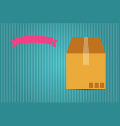Cardboard box and pink ribbon vector