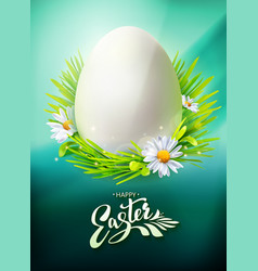 easter egg hunt poster on blue vector image
