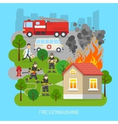 Firemen At Work Concept Flat Poster vector image vector image