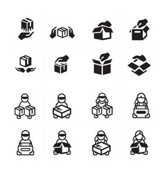 hand and courier icon set vector image vector image